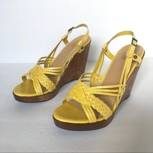 Frye 'Jackie' woven sling wedge Sandals in Lemon
